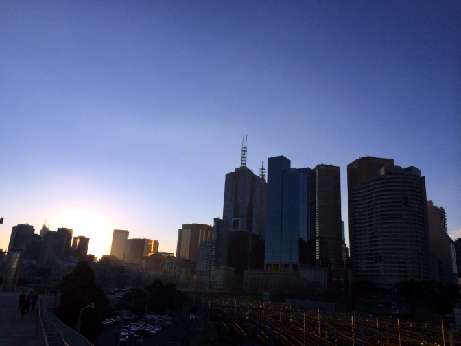 Sunset over Melbourne City