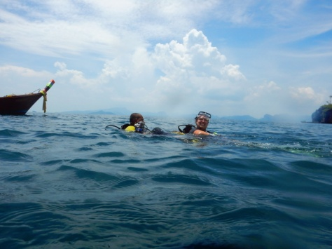 Surfacing after diving in Ao Nang