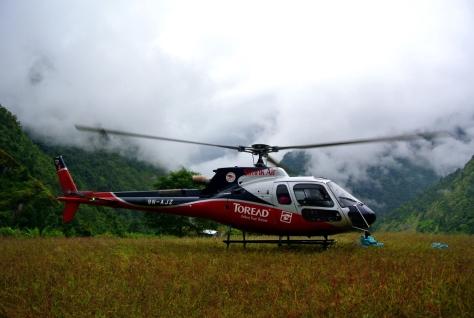 Helicopter landing below Lukla
